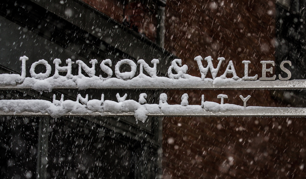 JWU sign with snow